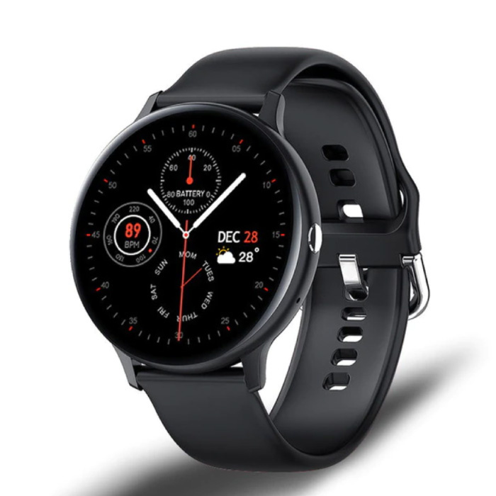 Sport Smartwatch - Silikonband Fitness Activity Tracker Uhr Android - Schwarz