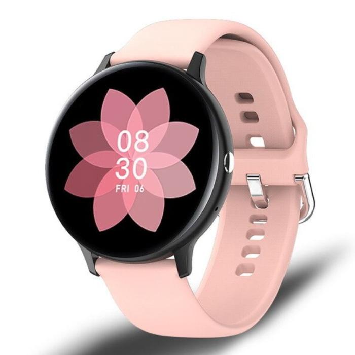 Montre intelligente de sport - Montre de suivi d'activité de remise en forme avec bracelet en silicone Android - Rose
