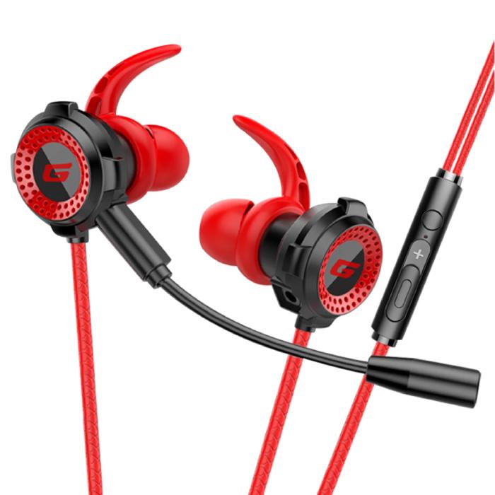 F36 Gaming Headset met Omnidirectionele Mic - Voor PS4/PS5 - Oortjes Hoofdtelefoon Headphones met Microfoon Rood