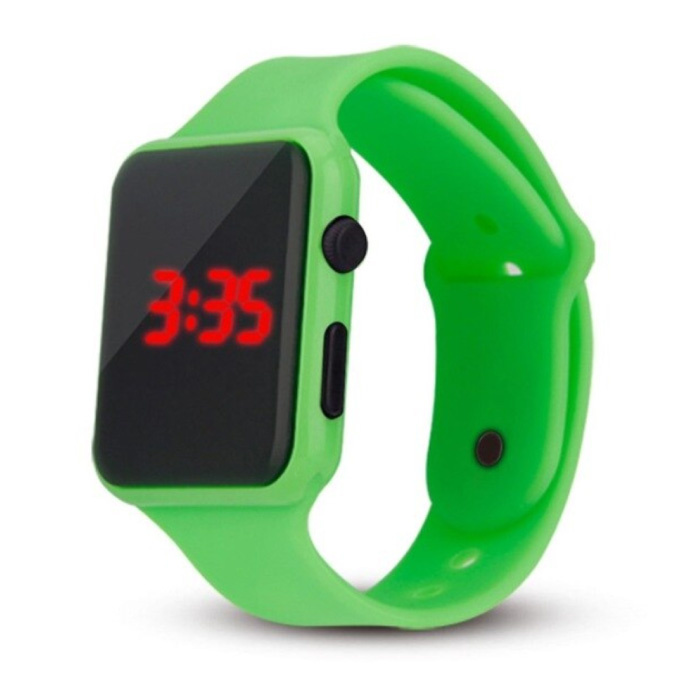 Digital Watch Wristband - Silicone Strap LED Screen Sport Fitness - Green