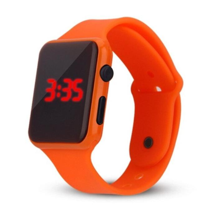 Digital Watch Wristband - Silicone Strap LED Screen Sport Fitness - Orange