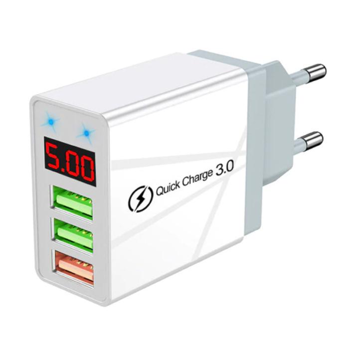 Qualcomm Quick Charge 3.0 Triple 3x Port USB Muur Oplader Wallcharger AC Thuislader Stekkerlader Adapter Wit