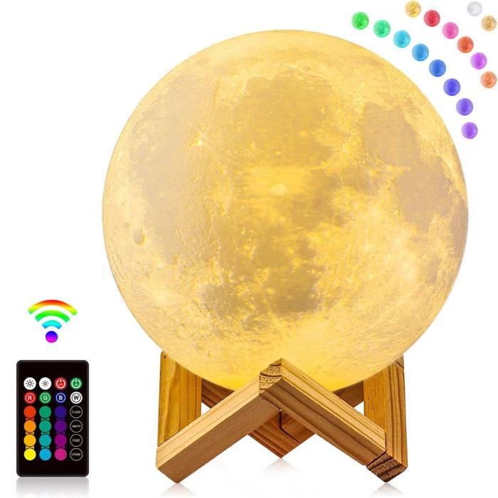 3D RGB Sterren Maan Galaxy Lamp 20cm met Afstandsbediening - Sfeerlamp Tafellamp Sterrenhemel Projector