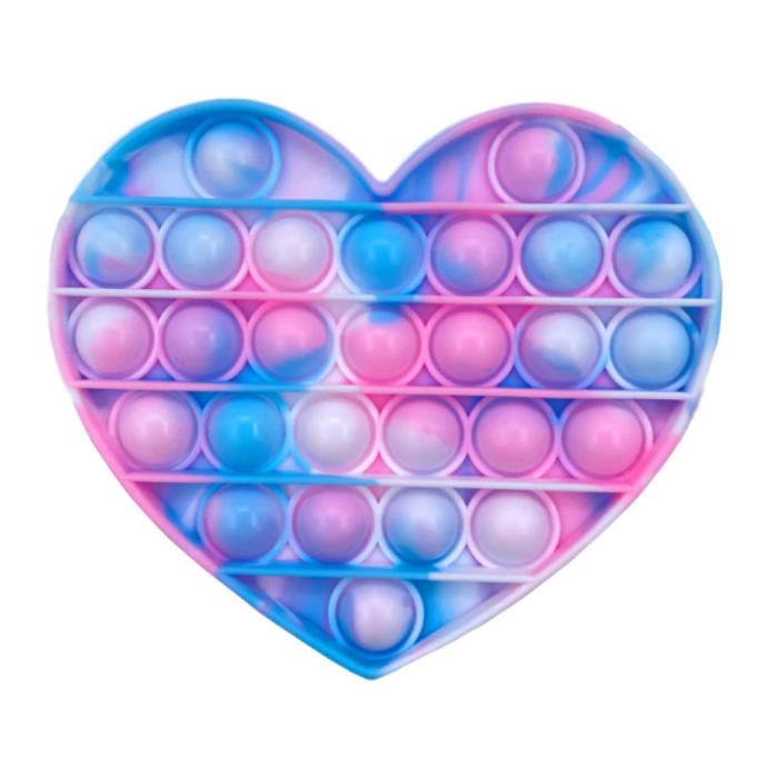 Pop It - Jouet anti-stress lavé Fidget Jouet à bulles Coeur en silicone Bleu-Rose-Blanc
