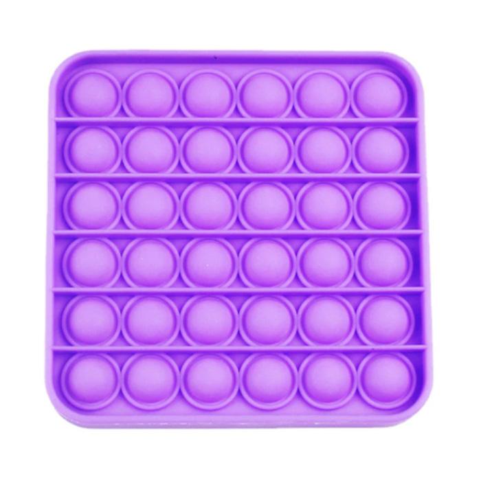 Pop It - Fidget Anti Stress Speelgoed Bubble Toy Siliconen Vierkant Paars