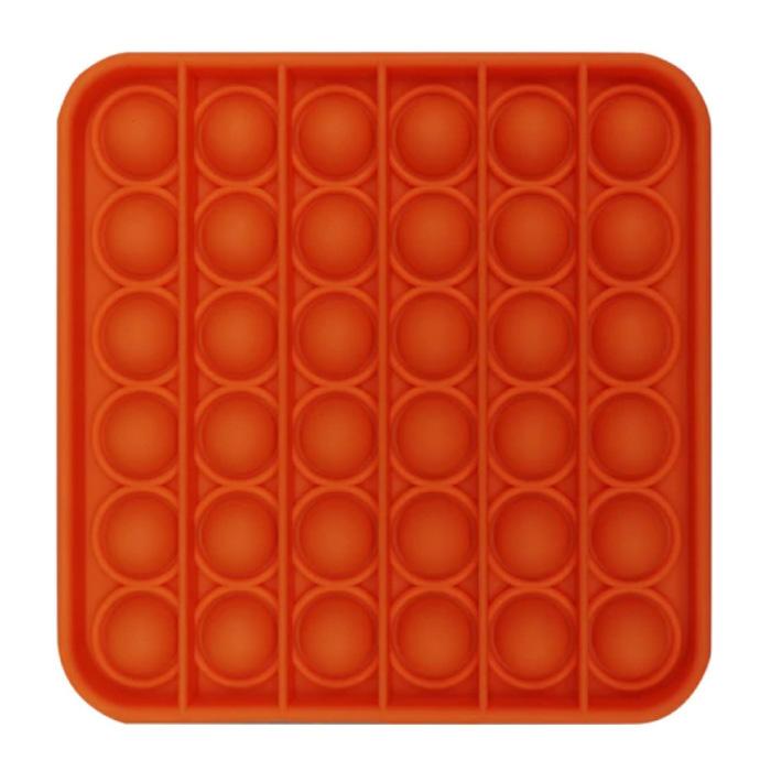 Pop It - Zappeln Anti Stress Spielzeug Bubble Toy Silikon Quadrat Orange