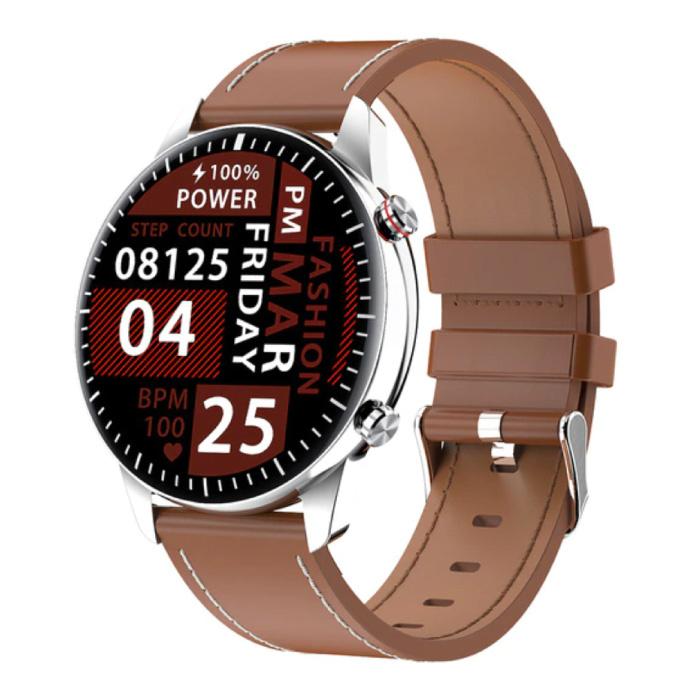 2021 Sport Smartwatch - Leren Bandje Fitness Activity Tracker Horloge Android - Bruin