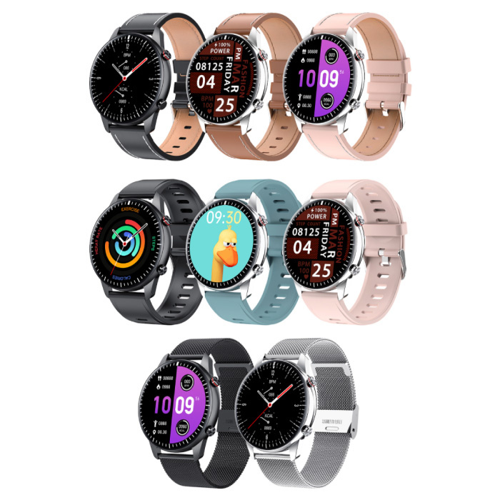 Madococo 2021 Sport Smartwatch - Leather Strap Fitness Activity Tracker Watch Android - Pink