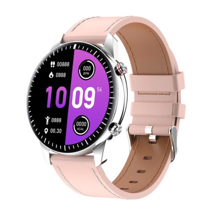 Smartwatch sportivo 2021 - Orologio con tracker di attività fitness con cinturino in pelle Android - Rosa