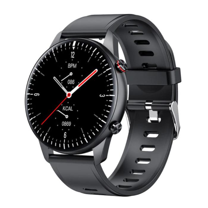 2021 Sport Smartwatch - Silicoon Bandje Fitness Activity Tracker Horloge Android - Zwart