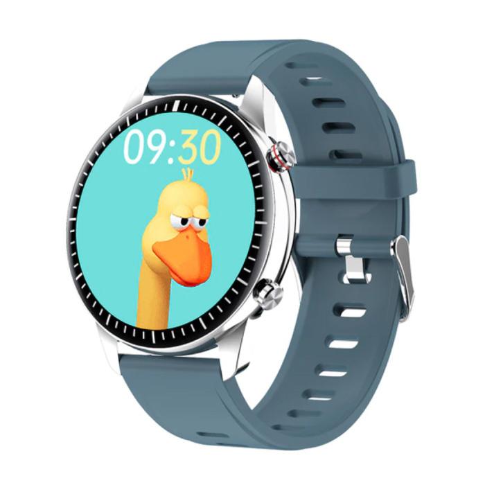 2021 Sport Smartwatch - Montre de suivi d'activité de fitness avec bracelet en silicone Android - Bleu