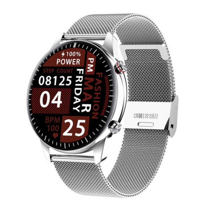 2021 Sport Smartwatch - Stahlband Fitness Activity Tracker Uhr Android - Silber