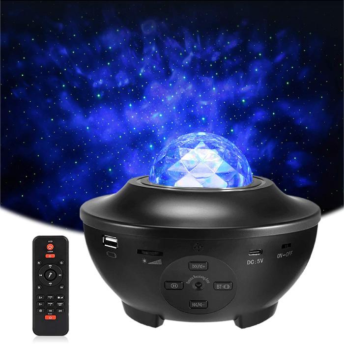 Sterren Projector met Afstandsbediening - Bluetooth Sterrenhemel Muziek Sfeerlamp Tafellamp Zwart