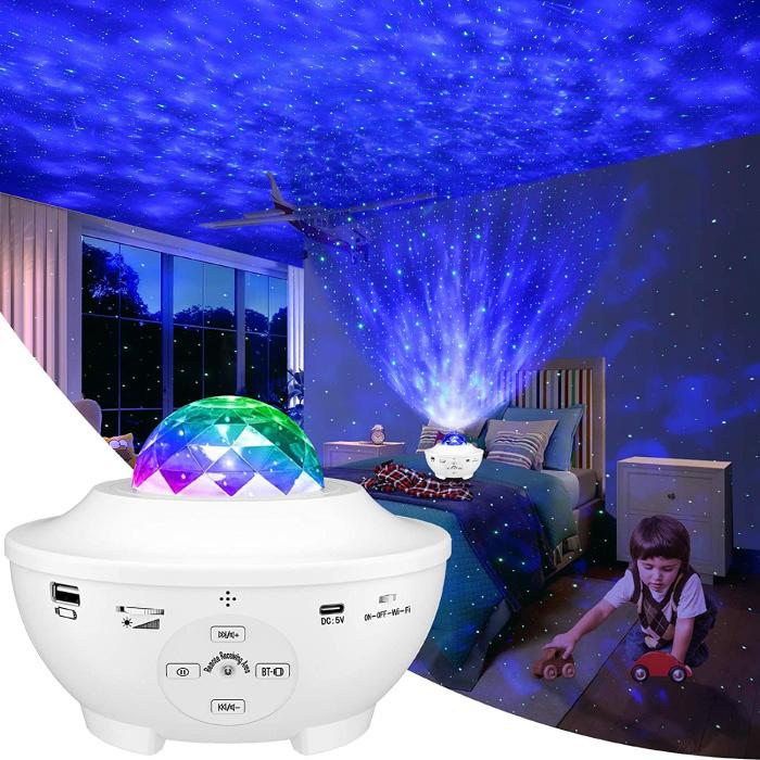 Projecteur Star avec télécommande - Lampe de table Bluetooth Starry Sky Music Mood Lamp Blanc