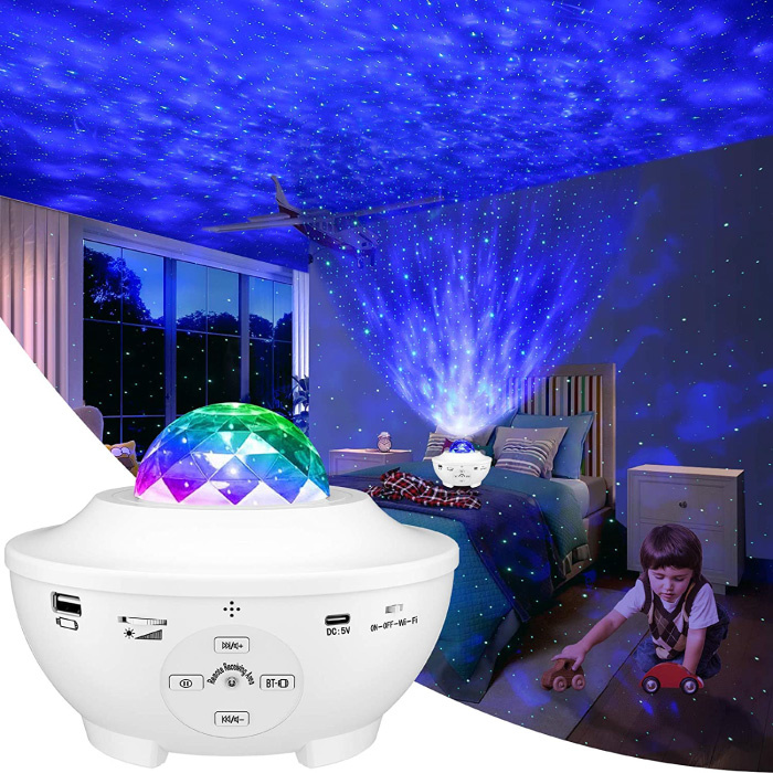 Sterren Projector met Afstandsbediening - Bluetooth Sterrenhemel Muziek Sfeerlamp Tafellamp Wit