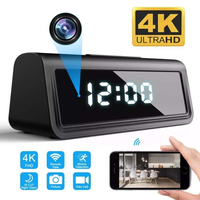 Alarm Clock with 4K Camera and WiFi - Wireless Smart Home Security Night Vision Motion Detection