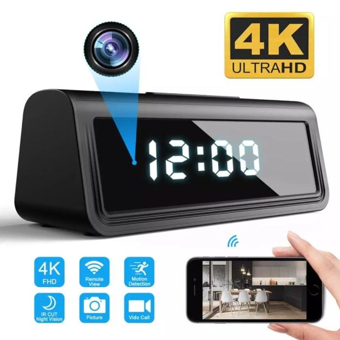 Wecker mit 4K-Kamera und WiFi - Wireless Smart Home Security Nachtsicht-Bewegungserkennung