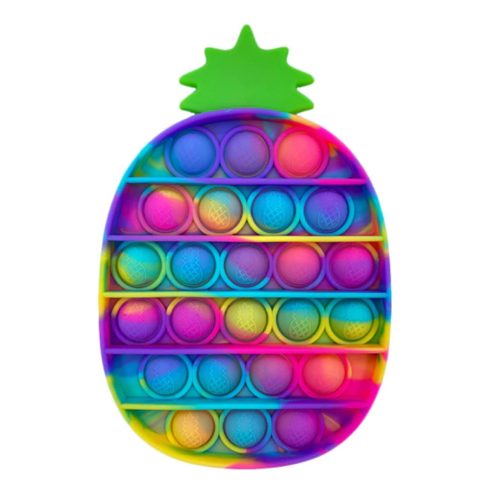 Pop It - Washed Fidget Anti Stress Speelgoed Bubble Toy Siliconen Ananas Regenboog