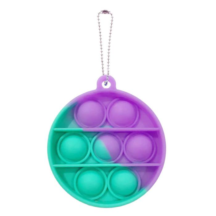 Pop It - Fidget Anti Stress Speelgoed Bubble Toy Siliconen Rondje Paars-Blauw