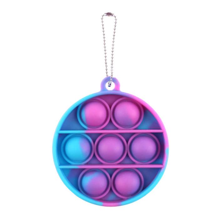Pop It - Washed Fidget Anti Stress Toy Bubble Toy Silicone Circle Purple-Blue