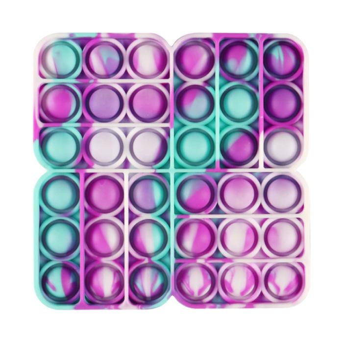Pop It - Fidget Anti Stress Speelgoed Bubble Toy Siliconen Vierkant Blauw-Paars-Wit