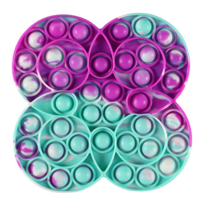 Pop It - Fidget Anti Stress Toy Bubble Toy Silicone Quadruple Circle Blue-Purple-White