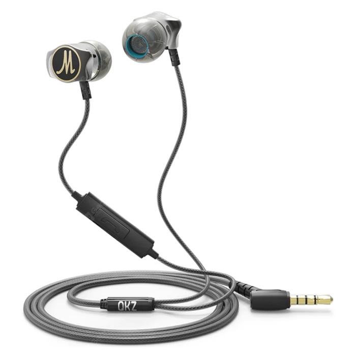 DM7 Oordopjes met Microfoon en Controls - 3.5mm AUX Oortjes Volumebeheer Wired Earphones Oortelefoon Zwart