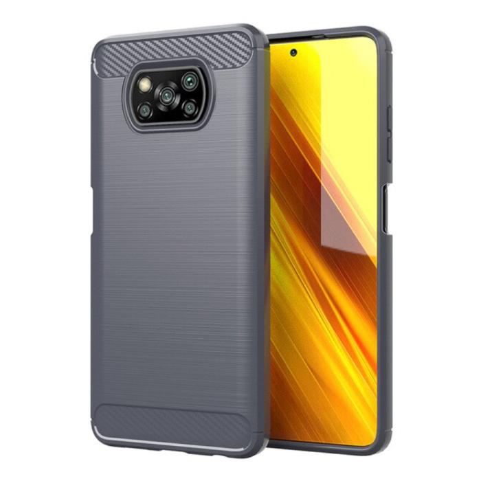 Xiaomi Poco X3 Pro Hoesje - Carbon Fiber Textuur Shockproof Case Rubber Cover Grijs