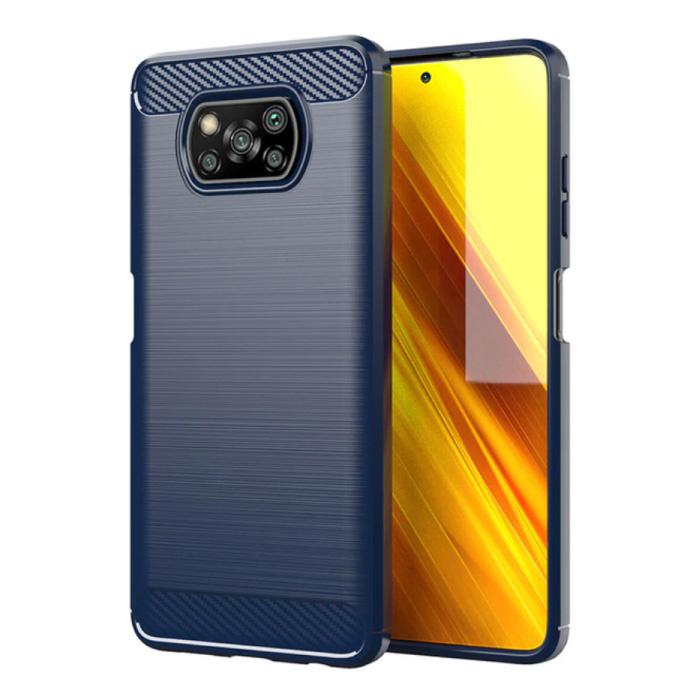 Xiaomi Poco X3 Pro Hülle - Carbon Faser Textur Stoßfeste Hülle Gummiabdeckung Blau