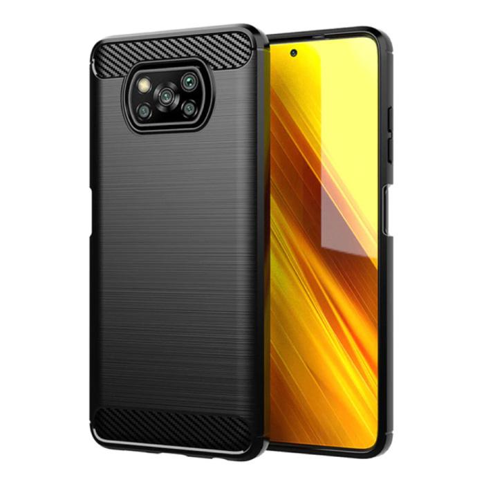 Xiaomi Poco X3 Pro Hülle - Carbon Faser Textur Stoßfeste Hülle Gummiabdeckung Schwarz