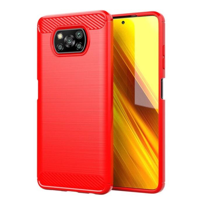 Xiaomi Poco X3 Pro Hoesje - Carbon Fiber Textuur Shockproof Case Rubber Cover Rood