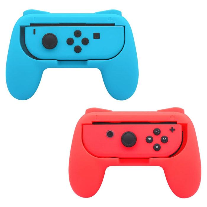Paquet de 2 poignées de manette pour Nintendo Switch Joy-Cons - NS Gamepad Handgrip Handle rouge-bleu