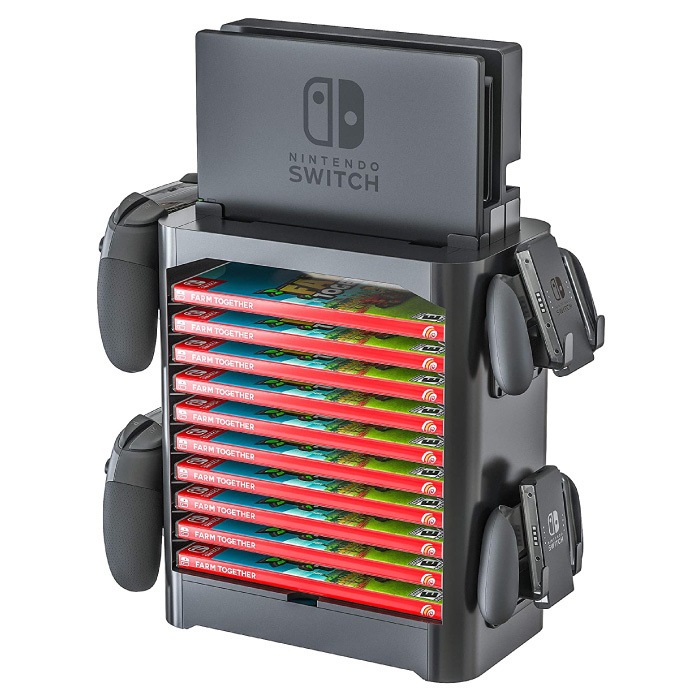 Multifunctional Stand for Nintendo Switch Console and Games - NS Controller Stand Game Holder Black