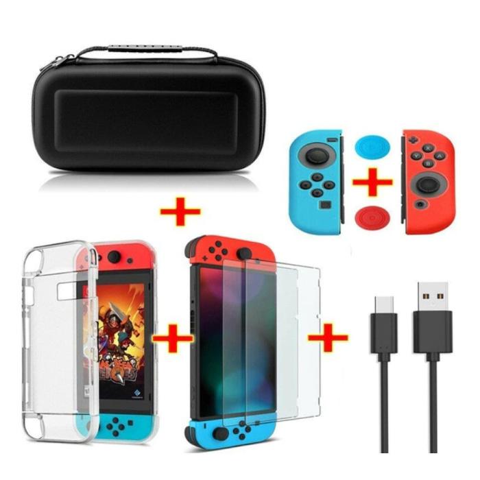 6 in 1 Kit für Nintendo Switch - NS Aufbewahrungstasche / Gehäuse / Displayschutzfolie / Kabel / Knopfkappen