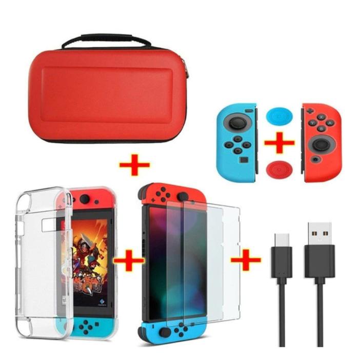 6 in 1 Kit für Nintendo Switch - NS Aufbewahrungstasche / Gehäuse / Displayschutzfolie / Kabel / Knopfkappen Rot