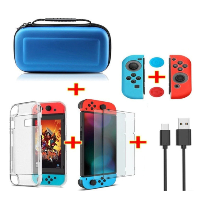 6 in 1 Kit für Nintendo Switch - NS Aufbewahrungstasche / Gehäuse / Displayschutzfolie / Kabel / Knopfkappen Blau