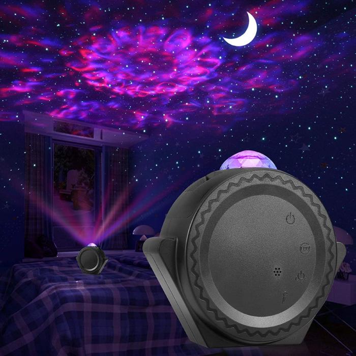 Star Projector - Lampe de table Bluetooth Starry Sky Music Mood Lamp Noir