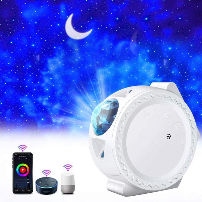 Sterren Projector - Bluetooth Sterrenhemel Muziek Sfeerlamp Tafellamp Wit