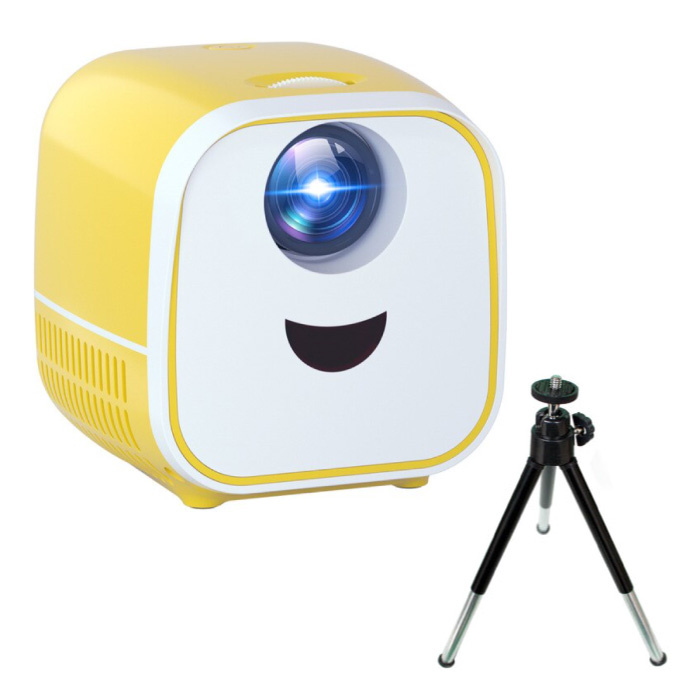 PK YG300 Mini LED Projector with Tripod - Beamer Home Media Player Theater Cinema White