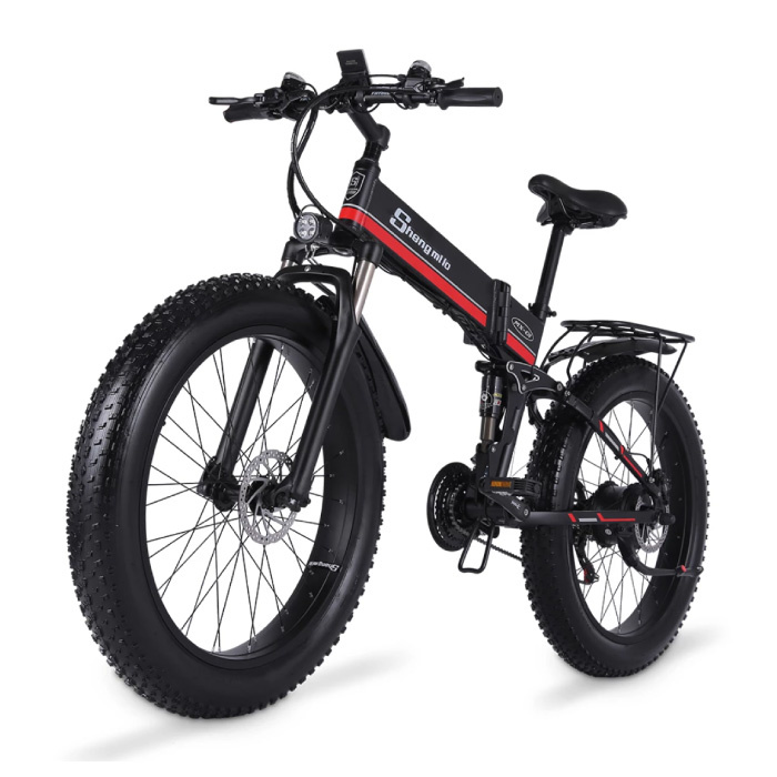 MX01 Foldable Electric Bicycle - Off-Road Smart E Bike - 500W - 12.8 Ah Battery - Red