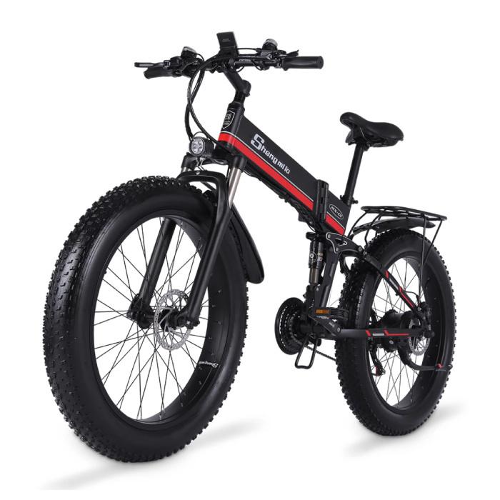Vélo électrique pliable MX01 - Vélo tout-terrain intelligent E - 500W - Batterie 12,8 Ah - Rouge