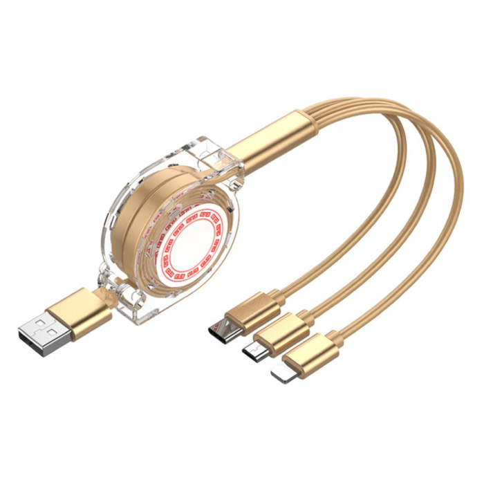 3 in 1 Retractable Charging Cable - iPhone Lightning / USB-C / Micro-USB - 1.2 Meter Charger Spiral Data Cable Gold-Transparent