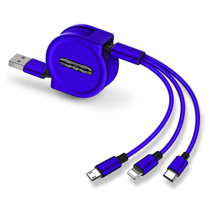 3 in 1 Intrekbare Oplaadkabel - iPhone Lightning / USB-C / Micro-USB - 1.2 Meter Oplader Spiral Data Kabel Blauw