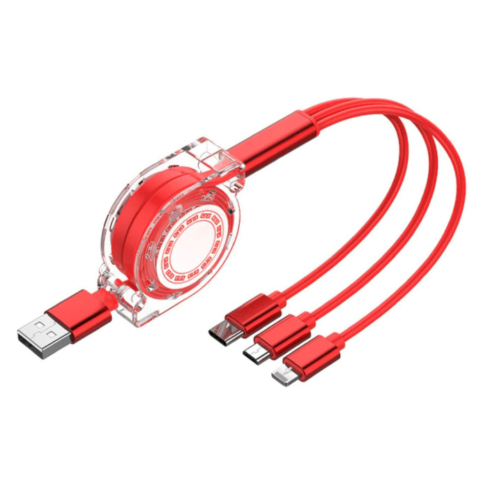 3 in 1 Intrekbare Oplaadkabel - iPhone Lightning / USB-C / Micro-USB - 1.2 Meter Oplader Spiral Data Kabel Rood-Transparant