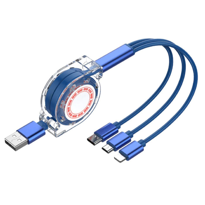 3 in 1 Intrekbare Oplaadkabel - iPhone Lightning / USB-C / Micro-USB - 1.2 Meter Oplader Spiral Data Kabel Blauw-Transparant