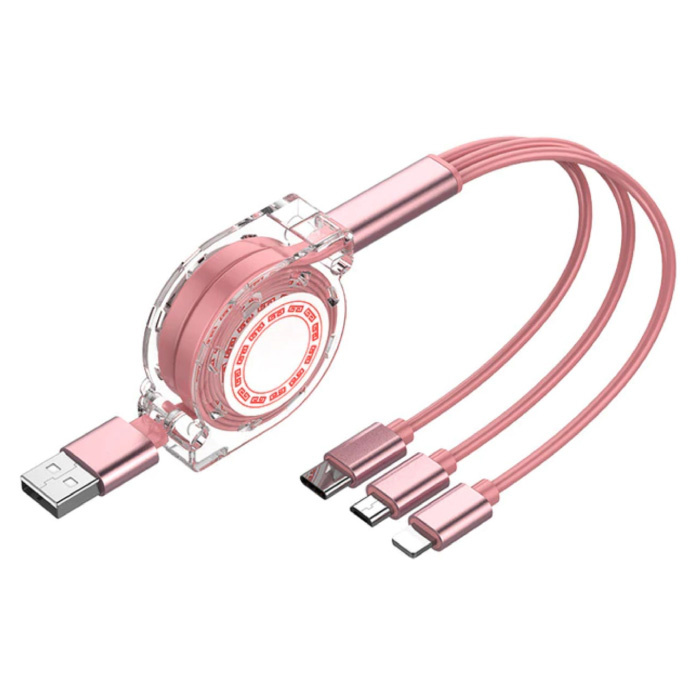 3 in 1 Intrekbare Oplaadkabel - iPhone Lightning / USB-C / Micro-USB - 1.2 Meter Oplader Spiral Data Kabel Roze-Transparant