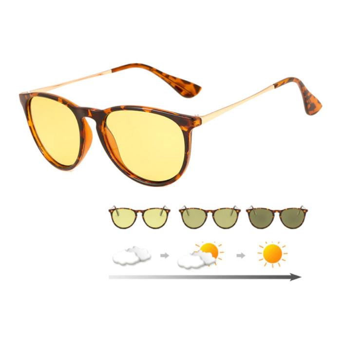 Lunettes de soleil et lunettes de nuit 2 en 1 - UV400 et filtre polarisant pour homme et femme - Léopard