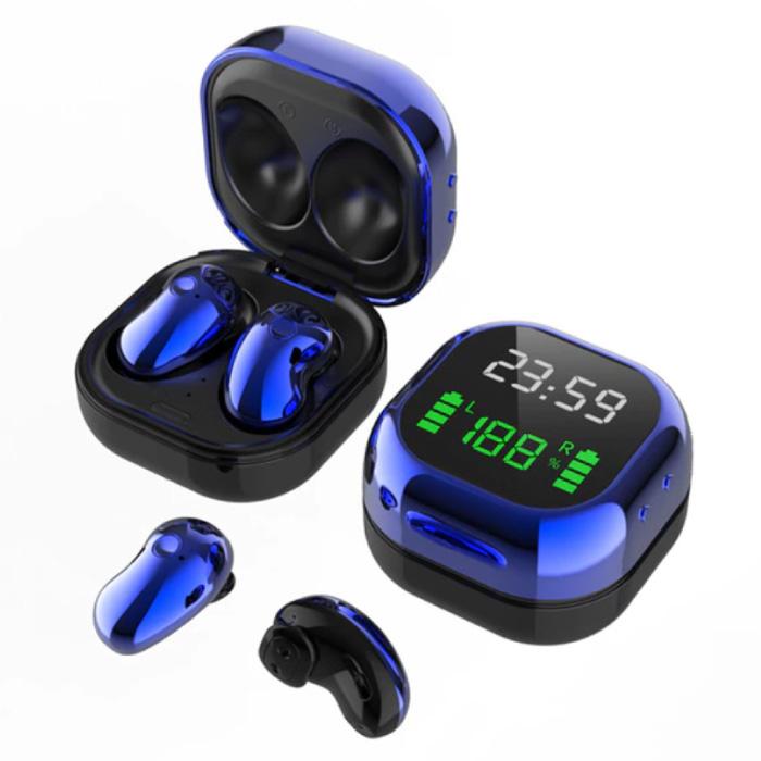Écouteurs sans fil S6 Plus avec écran LED - Écouteurs à commande unique TWS Bluetooth 5.0 Écouteurs Écouteurs bleu
