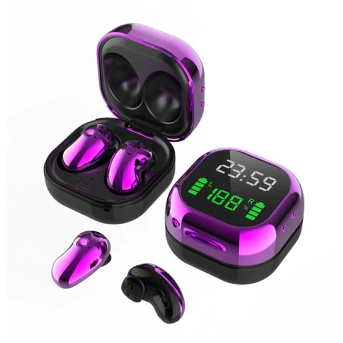 S6 Plus Draadloze Oortjes met LED Scherm - One Button Control Oordopjes TWS Bluetooth 5.0 Earphones Earbuds Oortelefoon Paars