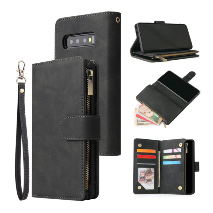 Samsung Galaxy S21 Plus - Leder Geldbörse Flip Case Cover Hülle Brieftasche Schwarz